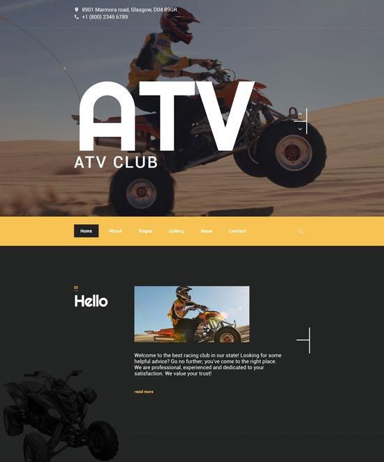ATV club joomla theme