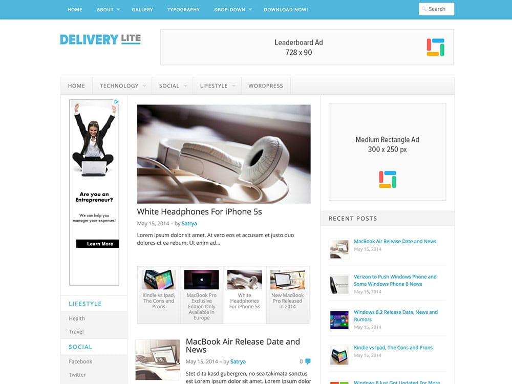 Delivery lite wordpress theme