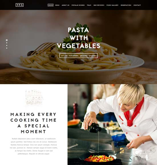nrgrestaurant joomla theme